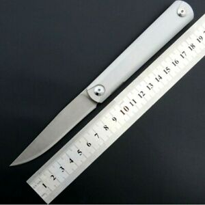 Drop Point Folding Knife Pocket Hunting Combat Tactical Carbon Steel G10 Handle