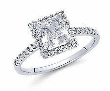 14K Solid White Gold Square Princess Cut Diamond Solitaire Engagement Ring