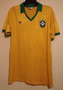 SUPER RARE 1980s BRAZIL # 9 HOME FOOTBALL SHIRT YELLOW GREEN CBF RIO BRASIL XL