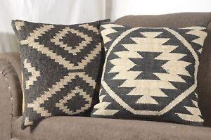 2 Set of Vintage Kilim Pillow Case 18x18 Hand Woven Jute Rug Rustic pillow 8024
