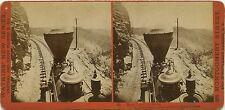 Watkins' New Series stereoview # 56 (1860s) Train rounding Cape Horn, California