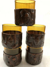 Vintage Leather Wrapped Whisky Glasses Man Cave Glasses Barware Qty 5