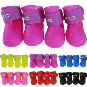 4pcs Rain Shoes Winter Waterproof Anti-slip Boots Socks For Small Puppy Pet Dogs