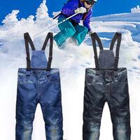 Men's Ski Snow Pants Denim Thick Warm Waterproof Outdoor Snowboard Jeans JCAU