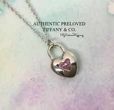 Excellent Tiffany & Co. Mini Heart Lock Pink Sapphire 18k White Gold Necklace