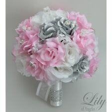 17 Piece Package Silk Flower Wedding Bridal Bouquet PINK WHITE SILVER Decoration