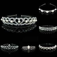 Wedding Bridal Crystal Pearl Headband Headpiece Hair Band Tiara Princess Crown