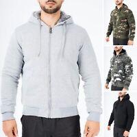Mens Fur Lined Zip Up Hoodie Hoody Fleece Sherpa Thick Winter Camo Zipped M-3XL