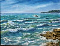 "Art 11""×14""original oil hand painting,landscape,seascape,ocean art,wall art,surf"