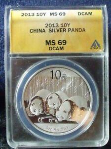 2013 Chinese  Silver Panda 10 Yuan ANACS MS69 DCAM SHARP raan