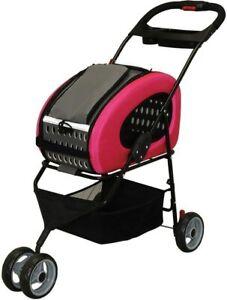 Iris Oyama Adjustable 4-WAY Pet Stroller Pet Carrier Pink FPC-920 Fast Shipping