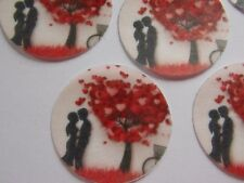 12 PRECUT edible wafer/rice paper Valentine Disc tree cake/cupcake toppers