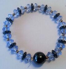 bisutería pulsera magnética Hematites Magnetic Diamante Color:Azul 8mm #128