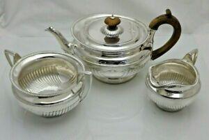 Antique Solid Silver Tea Set Service Susannah Brasted 1891 1215g (1566/9/SYNN)