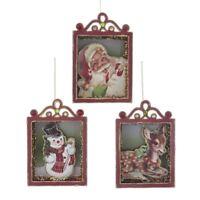 Kurt Adler Holiday Vintage Style Retro Christmas Ornaments Santa Deer Snowman