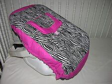 NEW INFANT CAR SEAT CARRIER COVER M/W HOT PINK & ZEBRA FABRIC