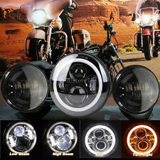 "7"" LED moto Feu Avant Phare headlight 4.5"" anti-brouillard Passing Feux Harley"