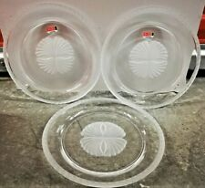 "3 Fostoria Captiva 10"" Shell Frosted Rim Dinner Plate Clear Vintage 1983 US Made"