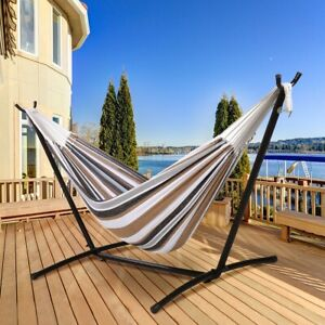 Double Hammock Swing With Stand Hanging Lounger Outdoor Large Carrying Bag