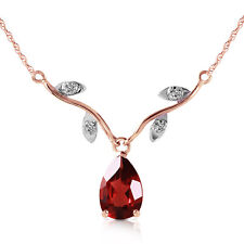 14K Solid Rose Gold Necklace withNatural Diamond & Garnet Fine Fashion Jewelry
