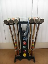 Vtg Franklin Wooden 6 Player Croquet Set Mallets,Balls,Stakes & Stand Complete