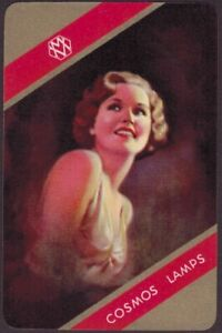 Playing Cards 1 Single Card Old Vintage COSMOS LAMPS Advertising Art Girl LADY C