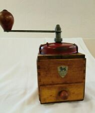 Vintage, French, Peugeot Freres, wooden square coffee grinder red metal top
