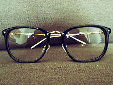 Black Vintage Retro Geek Nerd Clear Lens fashion Glasses fancy thin frames 60s