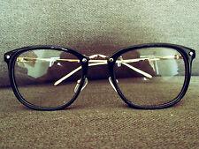 Black Vintage Retro Geek Nerd Clear Lens fashion Glasses fancy thin frames 60s