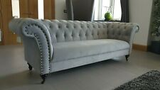 NEW ENGLAND STYLE CURVED CHESTERFIELD MODERN GREY VELVET 3 & 2 SEATER SOFA COUCH
