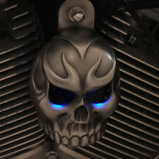 Aged Aluminum Evil Twin Horn Cover in Red LED Eyes - Harley 92' - Up & V-Rods