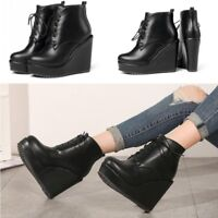 Women's High Wedge Heel Ankle Boots Leather Lace Up Fashion Boots Shoes Black