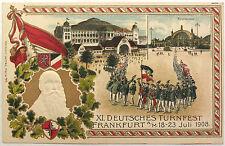 Orig vtg. PC XI. Deutsches Turnfest Frankfurt 1908, station, gymnastic, embossed