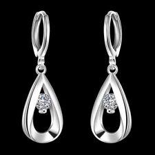 Fashion 925Sterling Solid Silver Jewelry Crystal Waterdrop Hoop Earrings E614