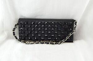 Black Gem Fold Over Handbag Party two straps