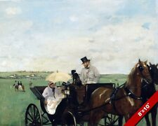CARRIAGE AT THE HORSE RACES EDGAR DEGAS FRENCH PAINTING ART REAL CANVAS PRINT