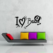 Wall Stickers Vinyl Decal Quote Message I Love Brazil Latin America  (z1926)