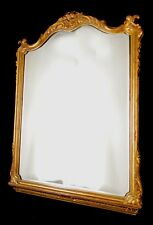 Antique french wood mirror Manufactured with carved wood Gold leaf 1950 (523)