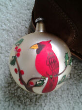 Red Cardinal on Holly Blown Glass Made In Italy Christmas Tree Ball Ornament Wow