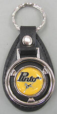 Vintage Yellow Ford PINTO Mini Steering Wheel Black Leather Keyring Key Fob