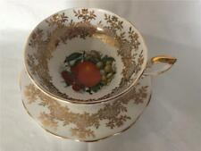 Royal Standard China Tea Cup and Saucer Set White & Gold with Fruit Center