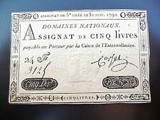assignat de 5 LIVRES 1792  série 24 F