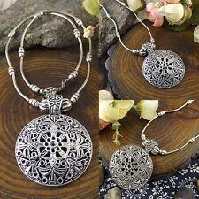 Retro Ethnic Tibetan Silver Hollow Flower Round Pendant Charm Boho Necklace