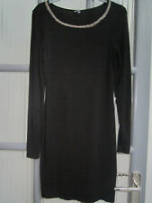 Warehouse short black thin jersey pencil dress- gold beads - worn once - size 10