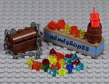 LEGO - 28 pcs Lot Treasure Chest Pirate Jewels Gold Gems Rocks Dynamite