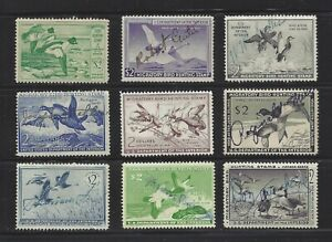 United States Duck Stamps Fine Used, 1949 // 1958, Scott RW16 // RW25, SCV $125