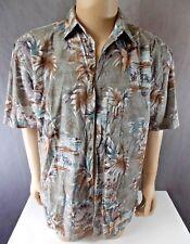 Mens sz L Island Shores Hawaiin Button Shirt tropical palm trees brown 1017-s23
