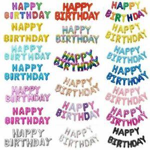 "Happy Birthday 16"" Foil Balloon Set Party Heaps Colours Melb Stock"