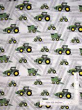 John Deere Little Farm Tractors Equipment Cotton Fabric CP59371 Springs - Yard