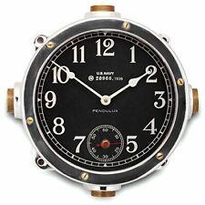 "Pendulux, Wall Clock, 12"" H x 12"" W x 5"" D, 8.6 lbs - Navy (Aluminum)"